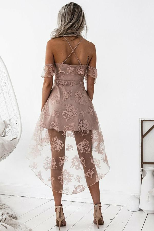 Cute A-Line High Low Blush Pink Spaghetti Straps Lace Short Homecoming Dresses WK04