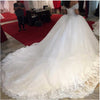 Wonderful Ball Gown Beaded Off the Shoulder Sweetheart Tulle White Wedding Dresses WK685