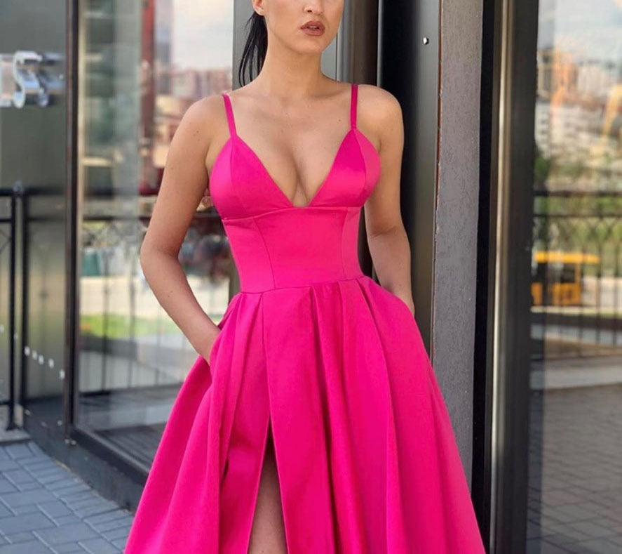 A Line Spaghetti Straps V Neck Yellow Prom Dresses with Pockets High Slit Satin Formal Dress P1131