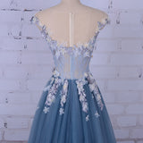 Beautiful Appliques V-Neck Tulle Beads Cap Sleeve Scoop A-line Long Evening Dresses WK861