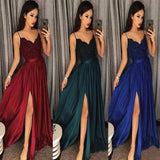 Dark Green Spaghetti Straps Split Front Lace Long Sleeveless Prom Dresses WK570