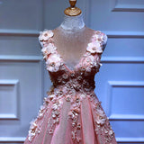 A line Pink V Neck Prom Dresses with Slit Lace Appliques Prom Gowns WK590