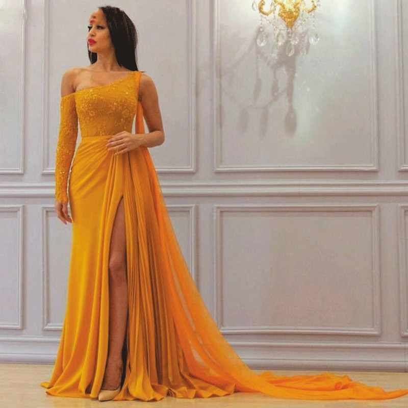 A Line Yellow One Long Sleeve Chiffon Prom Dresses High Slit Formal Dresses WK349