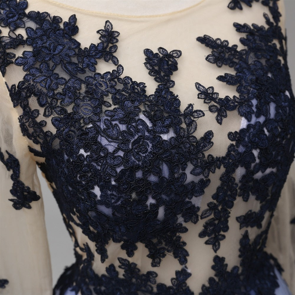 Sexy A-Line See Through Blue Lace Long Sleeve Open Back Appliques Long Prom Dresses WK413