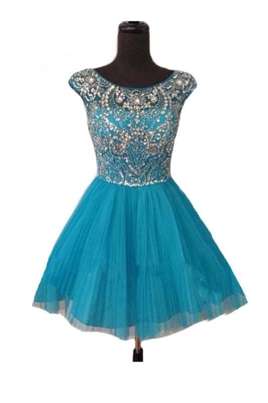 Blue Short Prom Dresses Homecoming Gowns Fitted Party Dress Sparkly Cocktail Dress WK898