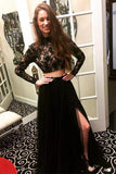 Long Sleeves Modest Black Two Pieces Beaded Lace Long Women Dresses Prom Dresses WK678