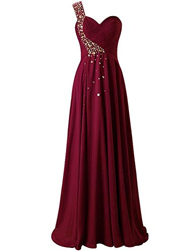 One Shoulder Long Bridesmaid Prom Dresses Chiffon Evening Gowns WK211