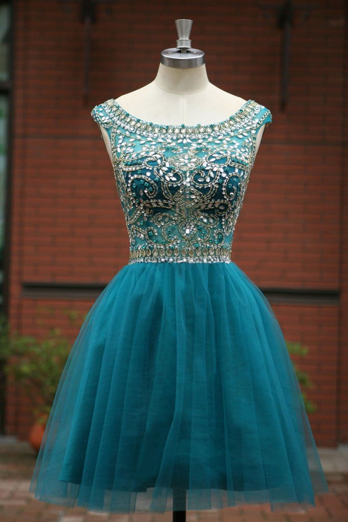 Blue Homecoming Dress Short Prom Gown Tulle Beads Open Back Homecoming Gowns WK910