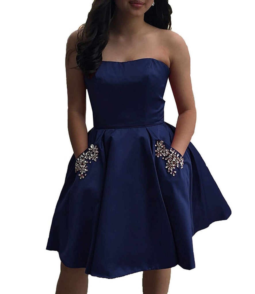 Light Sky Blue Strapless Satin Lace up Knee Length with Pockets Homecoming Dresses WK836