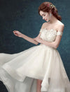 Ivory High Low Off the Shoulder Bridal Dress With Appliques Beach Wedding Dress W1004