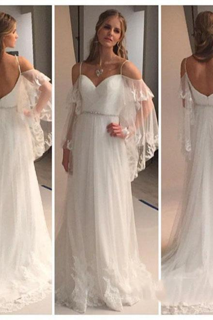 A Line Spaghetti Straps Sweetheart Lace Illusion Sleeves Backless Beach Wedding Dresses WK711