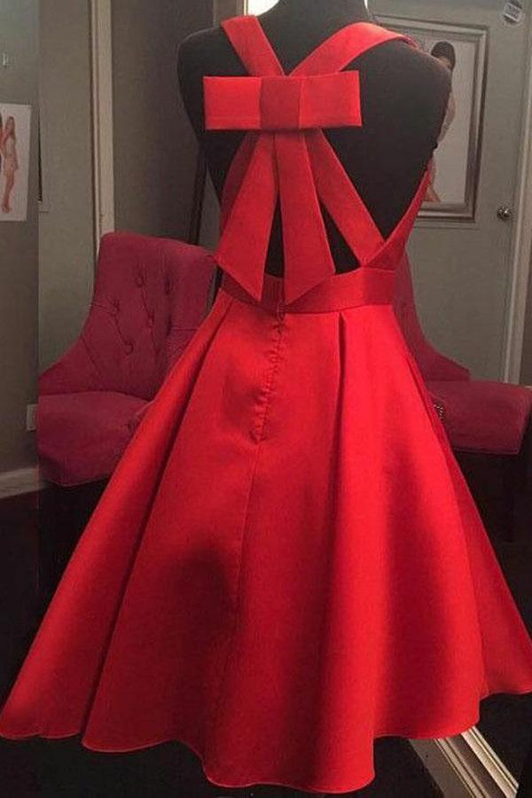 Cute A-Line V-Neck Open Back Short Red Satin Homecoming Dress with Bowknot WK701