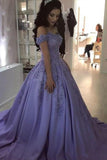 Lilac Ball Gown V Neck Off the Shoulder Lace Appliques Satin Beaded Prom Dresses WK465