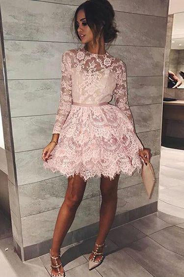 Long Sleeve Pink Above Knee Lace High Neck Homecoming Dress, Short Prom Dresses PW764