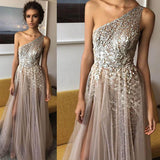 Elegant A Line Brown One Shoulder Tulle Shinning Side Split Long Prom Dresses WK618