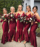 Mermaid Burgundy Spaghetti Straps V Neck Bridesmaid Dresses Bridesmaid Gowns BD1006