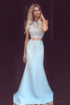 Mermaid Round Neck Neck Sky Blue Satin Prom Dress with Lace, Evening Dresses PW642