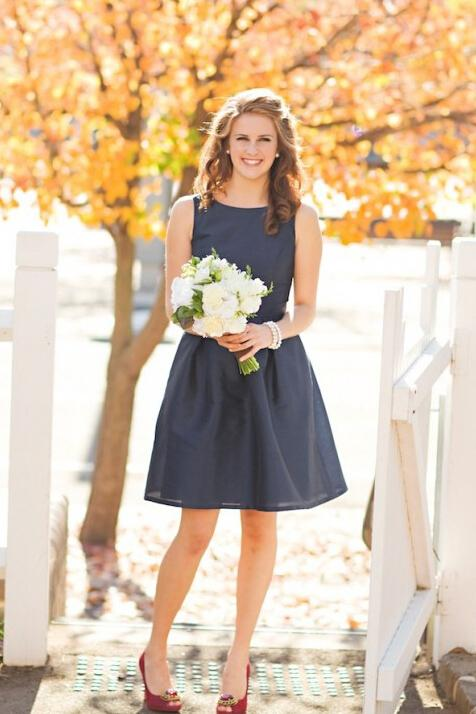 Mini A line Black Dark Navy Jewel Sleeveless Above Knee Satin Short Bridesmaid Dresses PW959
