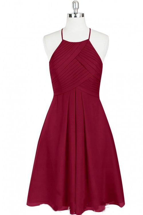 Mini Cute Halter Burgundy Chiffon Knee Length Bridesmaid Dress, Short Prom Dresses PW961