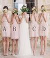 Mismatched Junior Short Lace Knee Length Blush Pink Bridesmaid Dresses, Prom Dresses PW964