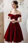 Burgundy Off the Shoulder Pleated Homecoming Dress Knee Length Graduation Dresses WK862