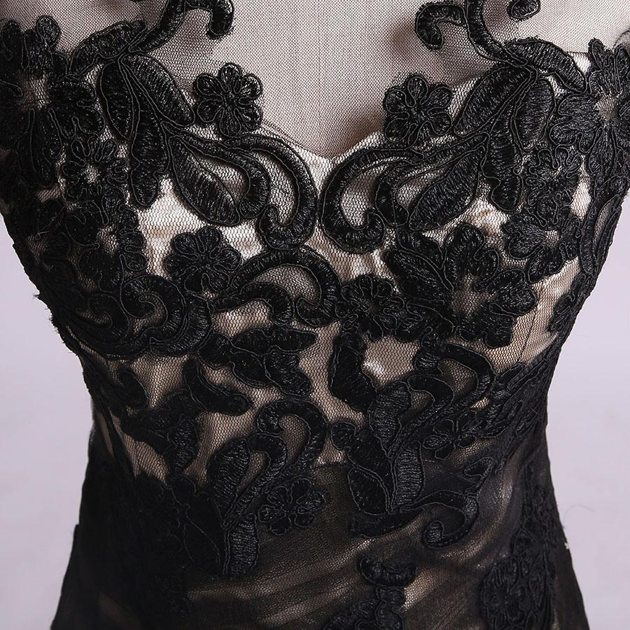 Mermaid Black Tulle Lace Appliques Long Sleeve V Back Scoop Cheap Prom Dresses WK176