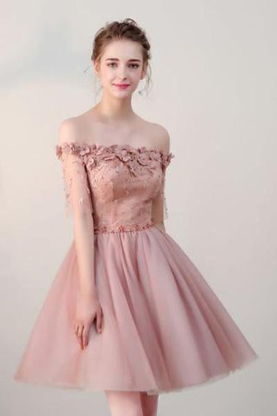 Off the Shoulder Short Sleeve Pink Above Knee Beads Flowers Lace up Homecoming Dress H1012