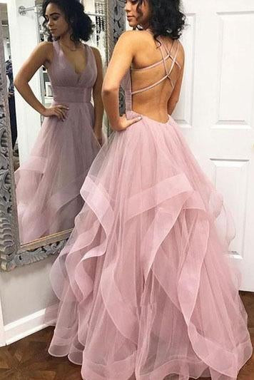 Pink Tulle V Neck Criss Cross Ruffles Long Prom Dress,Cheap Evening Dresses PW599