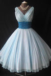 A Line V Neck Tulle Blue Short Knee Length Sleeveless Cute Mini Homecoming Dresses WK904
