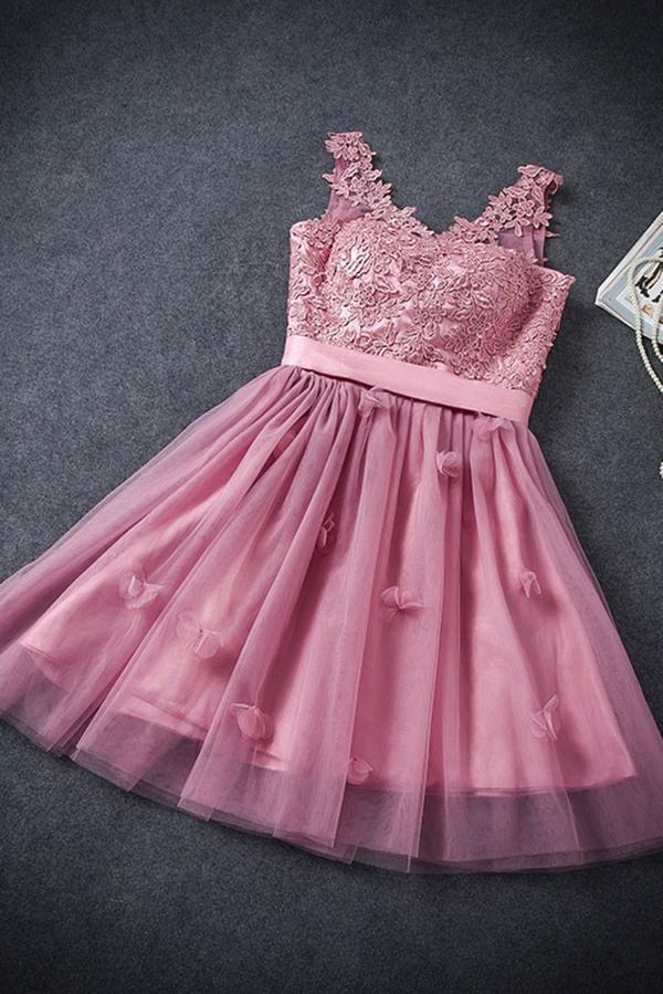 A Line Tulle Lace Appliques Lace up V Neck Pink Short Prom Dresses Homecoming Dresses WK906