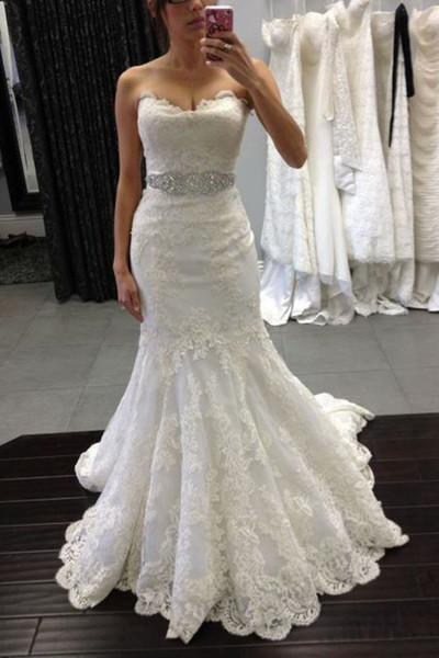 White lace sweetheart sequins mermaid floor length prom dress Wedding Dresses WK380