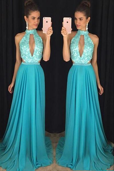 Blue chiffon lace halter round neck sexy long prom dress