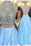 Light blue lace two pieces beading A-line prom dresses
