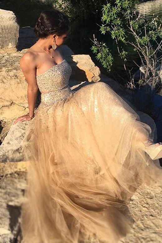 Champagne tulle sequins sweetheart strapless bridesmaid dress WK549