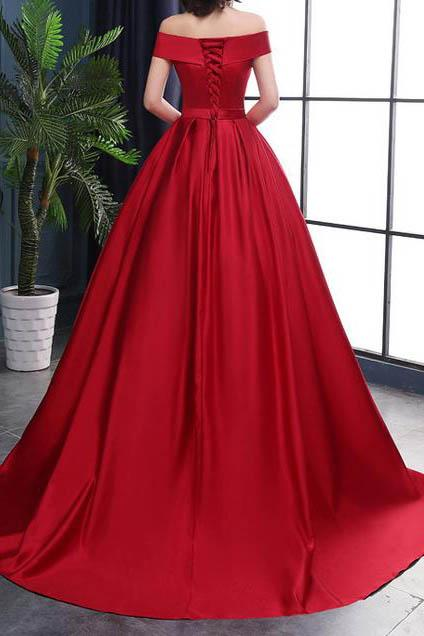 Chic A-Line Off-the-Shoulder Satin Simple Red Sleeveless Lace up Long Prom Dresses WK182