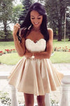 Cute Sweetheart Lace Applique Short Above Knee Button Homecoming Dress WK280