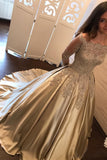 Satin Ball Gown Gold Long Sleeves Scoop Lace Appliques Beads Floor Length Prom Dresses WK771