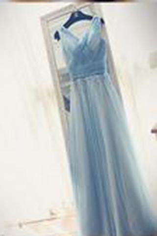 A-line V-neck Floor-length Tulle with Beading Prom Dresses Evening Dresses WK550