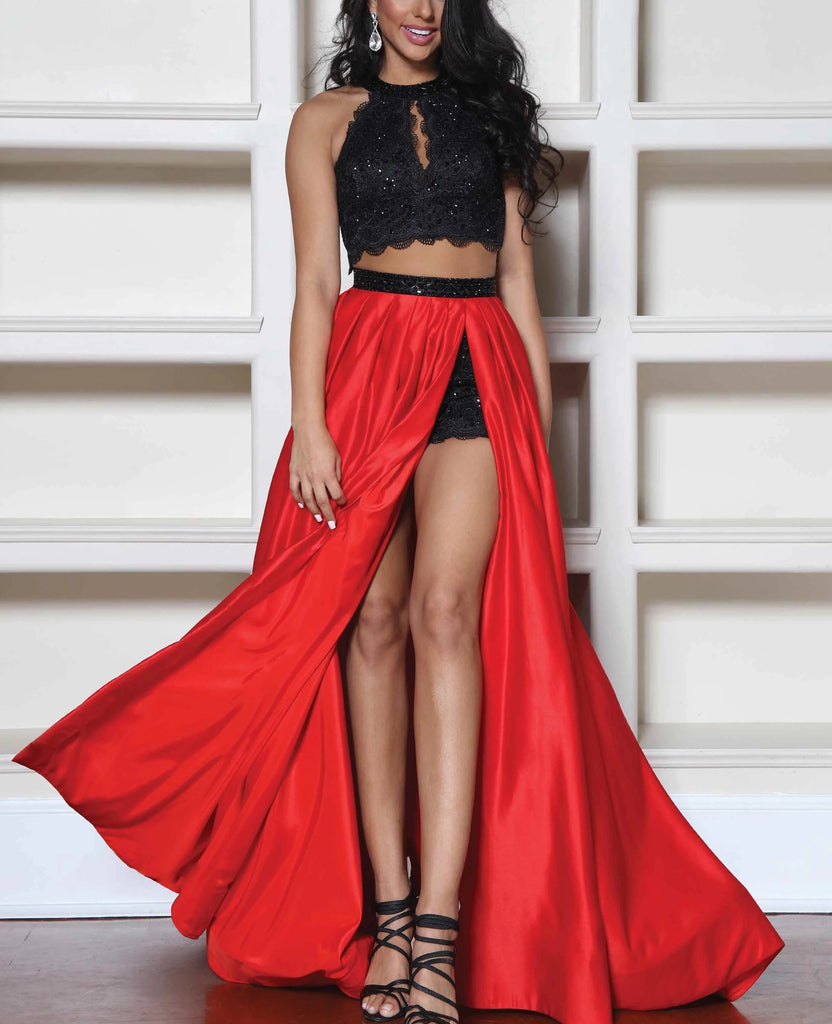 Black/Red Two Piece Shorts Prom Dresses WK193