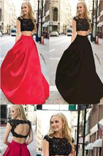 Charming Red And Black Two Pieces Lace Floor Length Prom Dresses Evening Dresses WK136