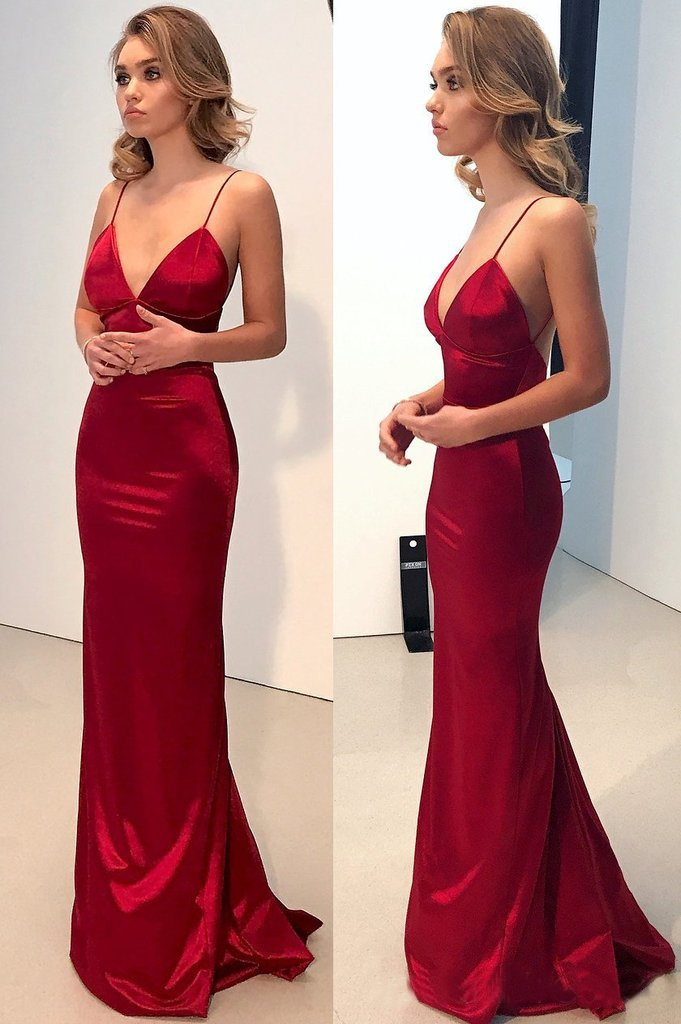 Red Mermaid Spaghetti Straps Deep V Neck Prom Dress Backless Dance Dresses WK811