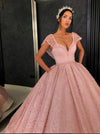 Chic Ball Gown Straps Pink Cap Sleeve Sparkly V Neck Beads Quinceanera Dress with Pockets WK228