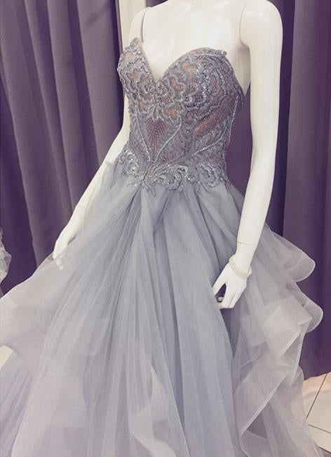 A Line Sweetheart Beads Organza Gray Lace Appliques Strapless Cheap Prom Dresses WK818