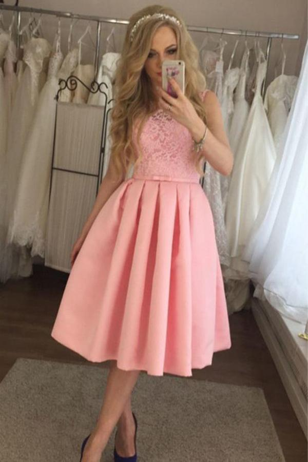 Charming Lace A-line Cute Satin Pink Tea Length Appliques Homecoming Dresses WK861