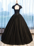 Black Tulle Cap Sleeve Long High Neck Beads Ball Gown Open Back Prom Dresses WK103