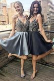 A Line Spaghetti Straps V Neck Satin Sleeveless Knee Length Grey Homecoming Dresses WK640