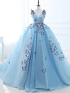 Ball Gown Long Sky Blue Butterfly V Neck Appliques Lace up Prom Quinceanera Dresses WK848