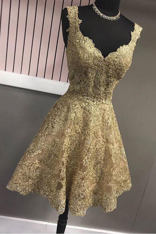 Cute A Line Gold V Neck Lace Appliques Short Prom Dresses Homecoming Dresses WK888