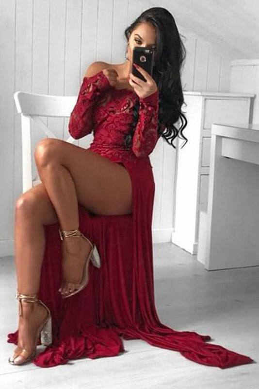 Sexy A Line Off the Shoulder Long Sleeve Dark Red Prom Dress with Lace High Split WK759