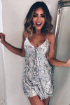 Sexy Silver Sequin Spaghetti Straps Deep V Neck Sleeveless Homecoming Dress Short Dress H1010
